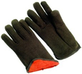 Brown Jersey Gloves Red Fleece Lined