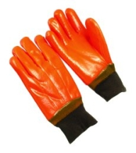 PVC Dipped Gloves Orange Foam Knit Wrist
