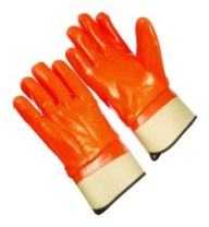 PVC Dipped Gloves Orange Foam Safety Cuff