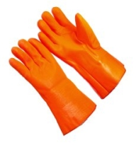 "PVC Dipped Gloves Orange Foam 12"" Gauntlet"