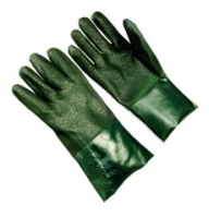 PVC Dipped Gloves Sandy Finish Green